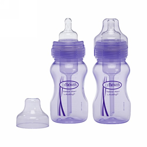 DR. BROWNS BOTTLE WIDE NECK 8OZ 240ML PURPLE PACK 2 PCS