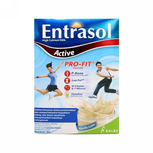 ENTRASOL ACTIVE SUSU RASA VANILA LATTE BOX 160 GRAM