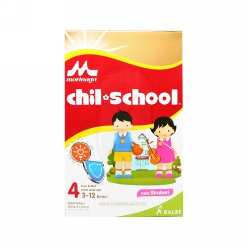 MORINAGA CHIL SCHOOL 4 SUSU FORMULA LANJUTAN USIA3-12 TAHUN RASA STRAWBERRY 800 GRAM DUS