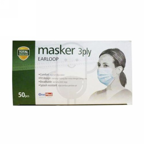 ONE MED MASKER 3 PLY EARLOOP BOX 50 PCS