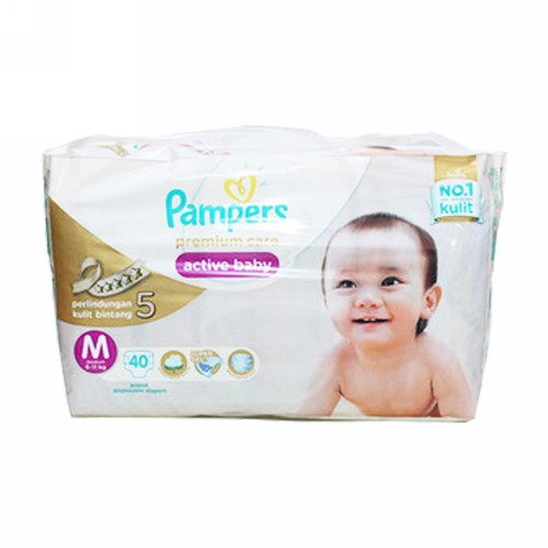 PAMPERS PREMIUM CARE POPOK PEREKAT UKURAN M BOX 40 PCS