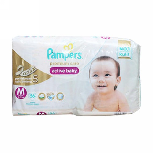 PAMPERS PREMIUM CARE POPOK PEREKAT UKURAN M BOX 56 PCS