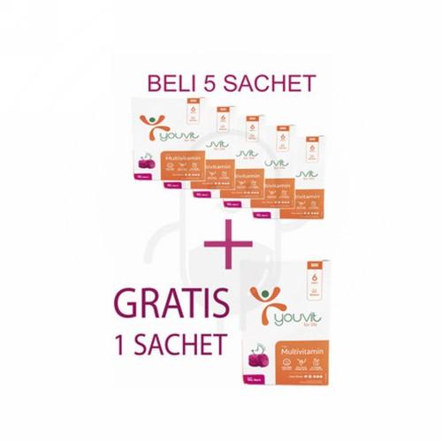 PROMO YOUVIT MULTIVITAMIN BELI 5 SACHET GRATIS 1 SACHET