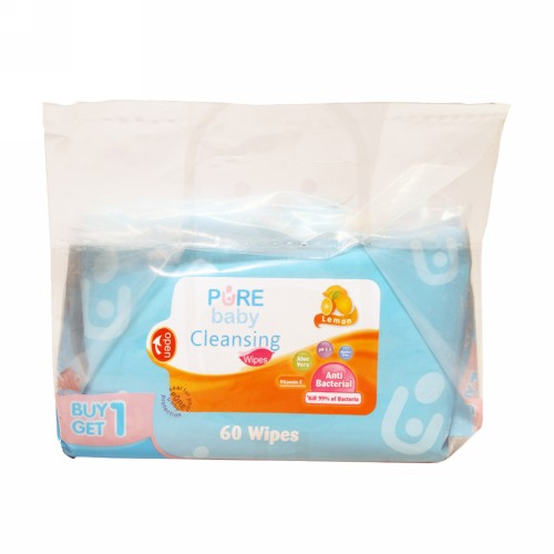 PURE BABY WIPES CLEANSING LEMON 60 ML