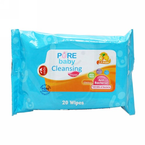 PURE BABY WIPES CLEANSING LEMON BOX 20 PCS