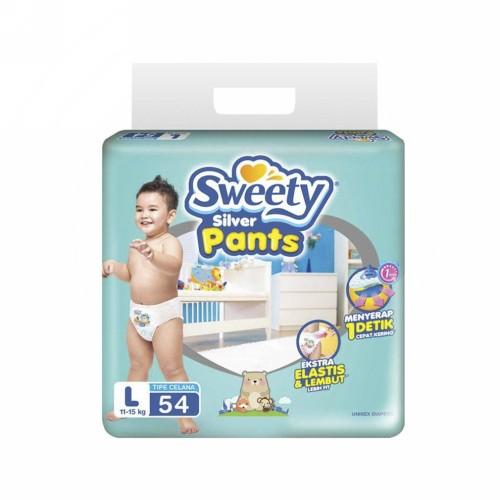 SWEETY SILVER PANTS POPOK CELANA UKURAN L PACK 54 PCS